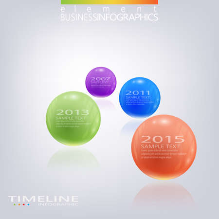Modern 3d glossy ball elements vector timeline design template.