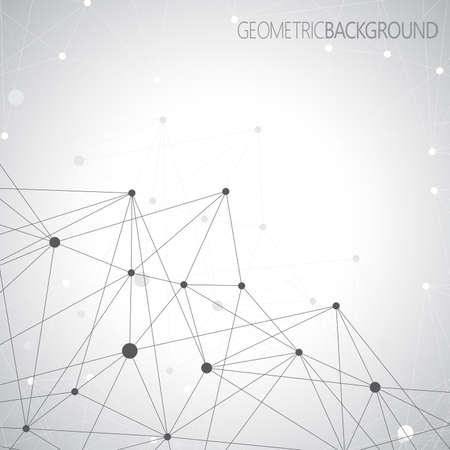 Geometric gray background. Molecule and communication background. Graphic background for your design and your text. Çizim