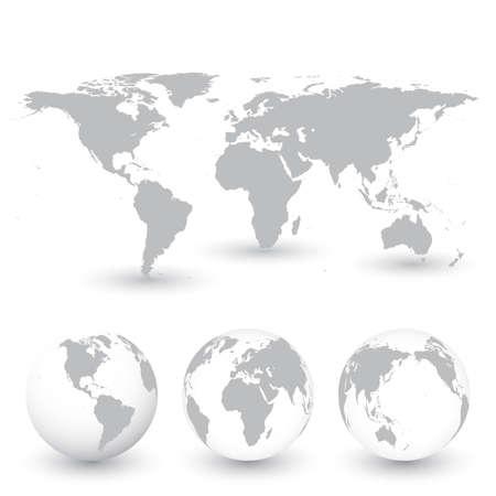 globe terrestre: Gris Carte du monde et des globes vecteur Illustration. Illustration
