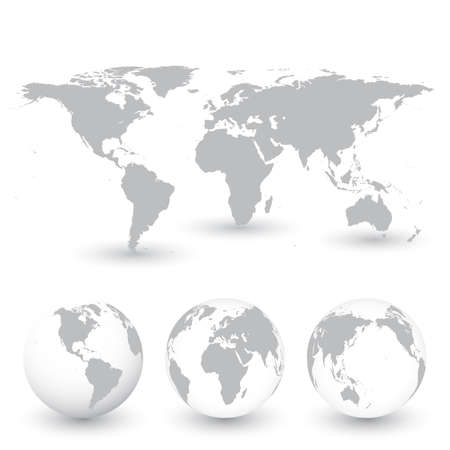 Grey World Map and Globes vector Illustration.