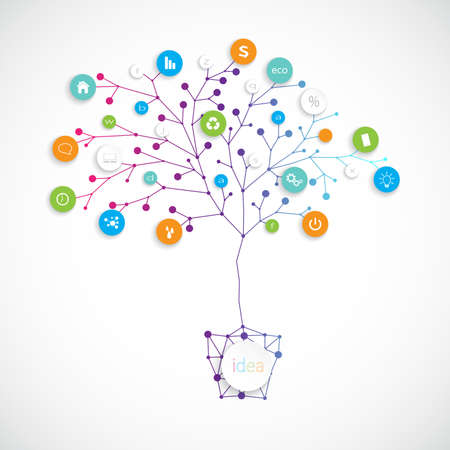 planeaci�n: �rbol del plan de negocios en las macetas sobre fondo gris. Se puede utilizar para su planificaci�n financiera, marketing, la descripci�n del producto. Vectores