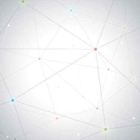 encoded: Geometric gray background with colorful dots . Molecule and communication background.