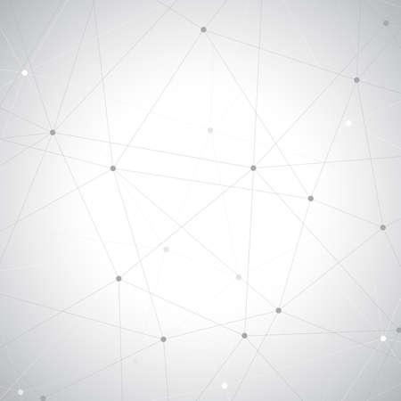 Fondo gris geométrico. Molécula y el fondo de comunicación.