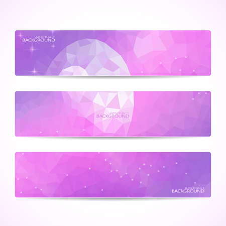 Collection of the 3 purple web banners . Abstract Moon Polygonal background . Can be used for your design .Vector illustration. Vector