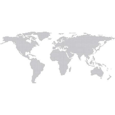 ドット灰色の世界地図。現代ベクトル イラスト。