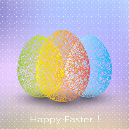 easter sign: Easter egg on blurred background with place for your text.
