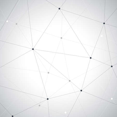 Geometric gray background. Molecule and communication vector illustretion.