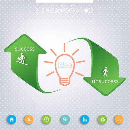 unsuccess: Success and Unsuccess Modern template infographic . Can be used for workflow layout, diagram, chart, number options, web design.