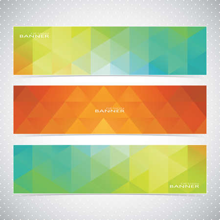 Colorful Horizontal Set Of Banners Mosaic Backgrounds. Modern Vector Illustration. Vector