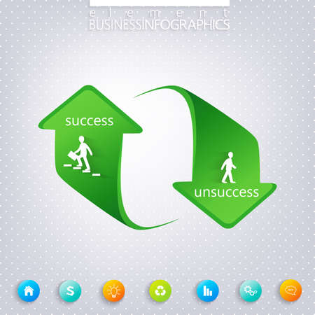 unsuccess: Modern template infographic , Success and Unsuccess  . Can be used for workflow layout, diagram, chart, number options, web design.