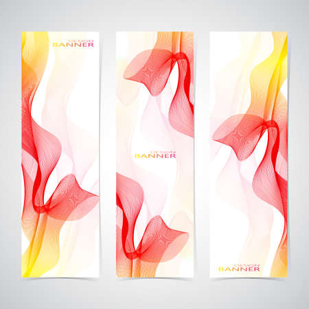 Colorful  Vertical Set Of Banners smoky waves background.