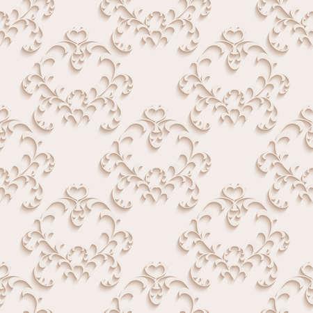 バロック様式のスタイルで花のシームレスな壁紙。背景やページの塗りつぶし web デザインに使用できます。  イラスト・ベクター素材