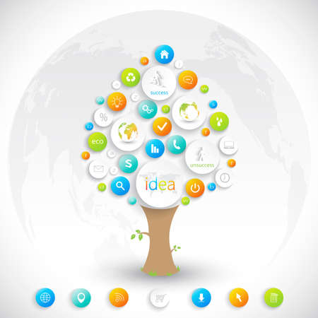 Business plan tree with place for your text  and business training. Vector