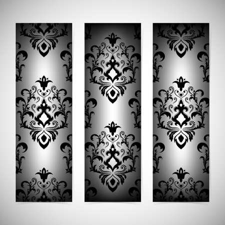 Collection vertical banners in the style of Baroque . Modern Vector Illustration. Vector