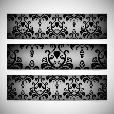 Collection horizontal banners in the style of Baroque . Modern Vector Illustration. Vector