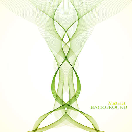green and black: Abstract curved lines on black background. Vector illustration.