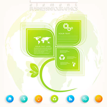 Modern green infographic design with place for your text , workflow, layout, chart,  options, web design. Vector  illustration. Vector