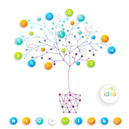 テキストおよびビジネス訓練のための場所とビジネス プランのツリー。ベクトルの図。