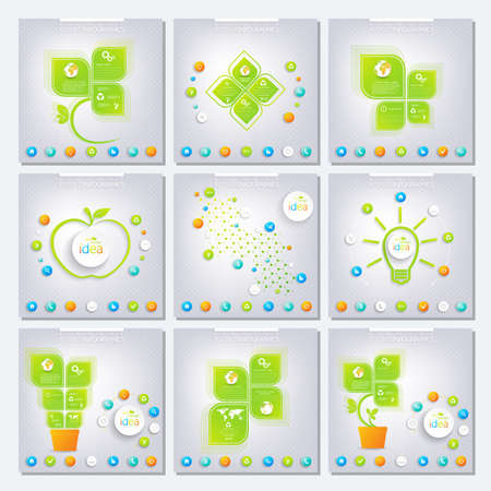 Collection green infographic with place for your text. Can be used for workflow layout, diagram, banner, chart, number options, web design. Vector illustration. Vector