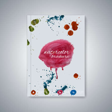 business book: Watercolor template brochure, magazine, flyer, booklet, cover or report in A4 size for your design . Vector Illustration. Illustration