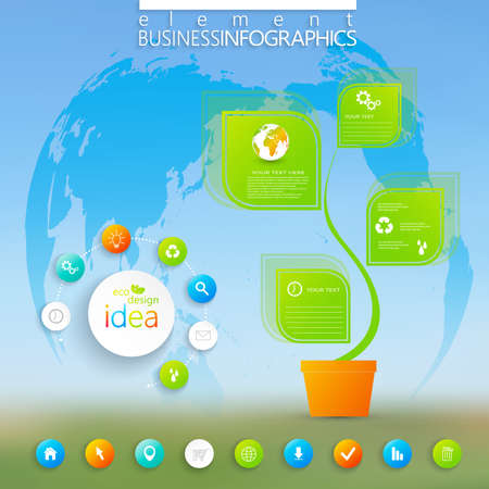 Modern green infographic with place for your text. Can be used for workflow layout, diagram, chart, number options, web design. Vector illustration. Vector