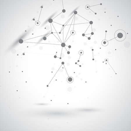 TECNOLOGY 회색 배경 분자 및 통신. 벡터 일러스트 레이 션.