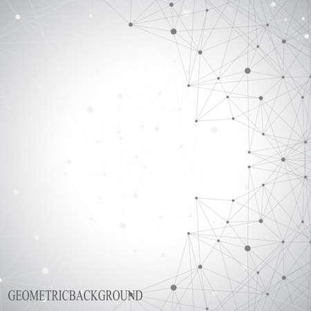 Šedé grafické pozadí tečky s přípojkami pro svůj design. Vektorové ilustrace.
