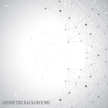 Grey graphic background dots with connections for your design. Vector illustration.