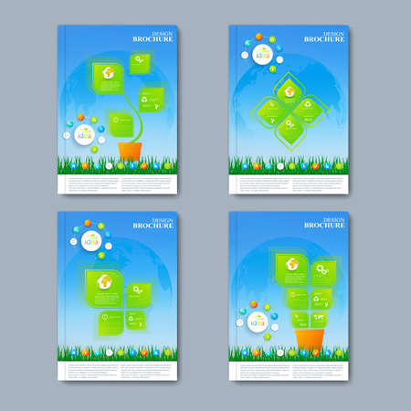 portadas de libros: conjunto de vectores moderna de folletos en el estilo de la infografía para su diseño.