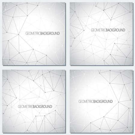 Inzameling geometrische grijze molecule en mededeling als achtergrond voor uw ontwerp. Vector illustratie.