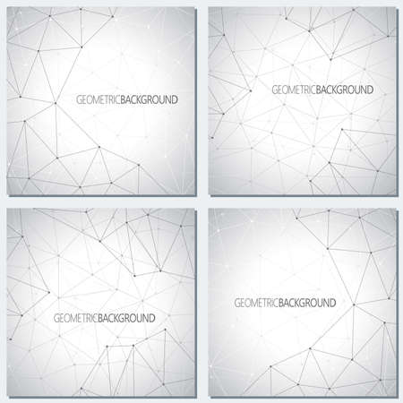 Collection geometric gray background molecule and communication for your design. Vector illustration.