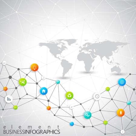 computer education: Modern infographic network template with place for your text. Can be used in the workflow layout, diagram, chart, number options, web design.