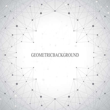 Geometric gray background molecule and communication for your design.