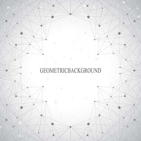 Geometrische grijze achtergrond molecuul en communicatie voor uw ontwerp. Stock Illustratie