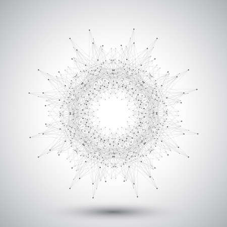 Geometric abstract form with connected lines and dots.
