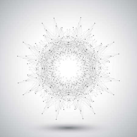 Geometrisch abstracte vorm met aangesloten lijnen en punten.