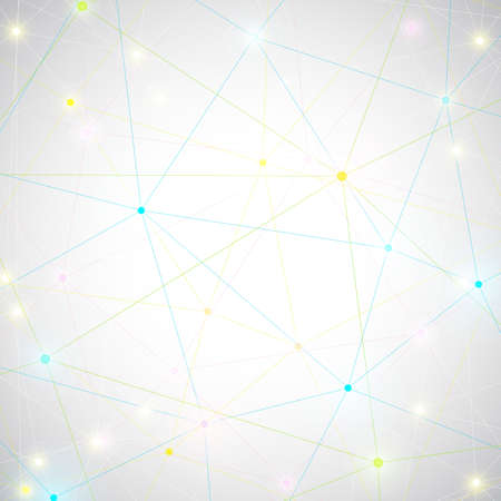 Geometric abstract background with connected lines and dots for your design.   Vectores