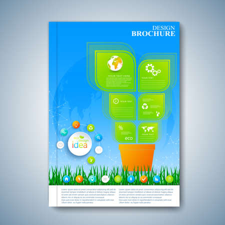 report cover design: Modern template layout brochure, magazine, flyer, booklet, cover or report in A4 size for your design .