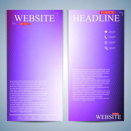 website backgrounds: Set of multicolored vertical backgrounds. Modern page website design template. Vector Illustration.