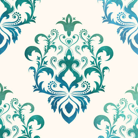seamless damask: Watercolor seamless wallpapers in the style of Baroque . Can be used for backgrounds and page fill web design. Vector Illustration.