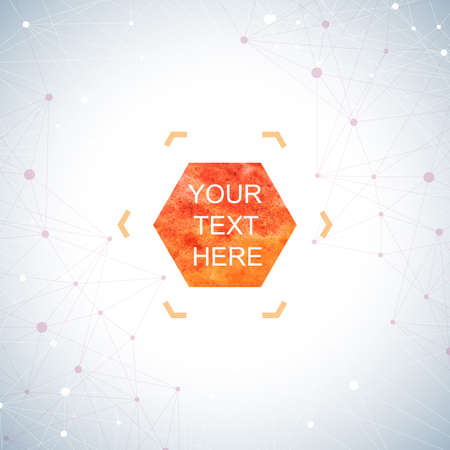 connect: Graphic background dots with connections . Watercolor hexagon shapes for your text and design. Vector illustration. Illustration