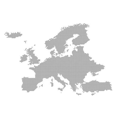 Detailed map of Europe in the dot. Vector illustration. Stok Fotoğraf - 45864723
