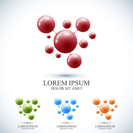 Moderne set logo en DNA van het logo. Vectormalplaatje voor geneeskunde, wetenschap, technologie, chemie, biotechnologie.