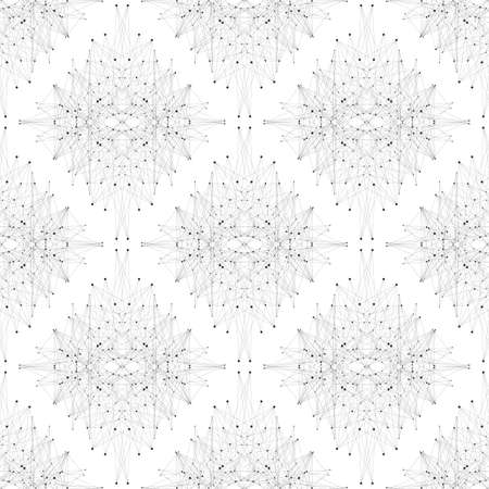 tecnology: Seamless graphic texture molecule and communication. Connected lines with dots. Vector illustration.