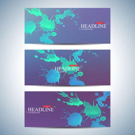 website backgrounds: Set of watercolor horizontal backgrounds. Modern page website design template . Vector Illustration. Illustration