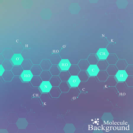Dna molecule on blue background. Graphic background for your design and your text. Vector Illustration.