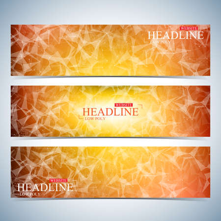 website backgrounds: Set of polygonal horizontal backgrounds. Modern page website design template. Molecule and communication with connected dots and lines. Vector Illustration.