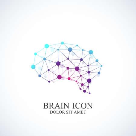 dna chain: Colorful Vector Template Brain Logo. Creative concept design icon.