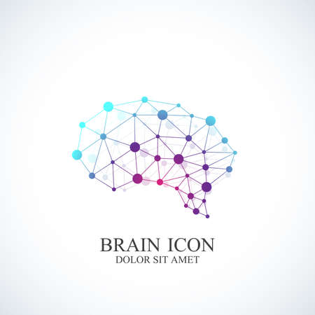 Colorful Vector Template Brain Logo. Creative concept design icon.