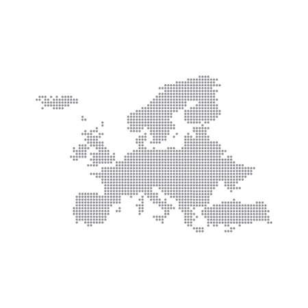 ドット グレー地図ヨーロッパ。ベクトルの図。